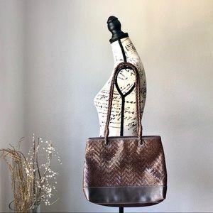 Liz Claiborne Woven Brown Tote Purse Shoulder Bag